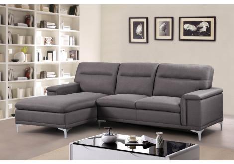Canapé d'angle MARLEY méridienne à gauche en tissu gris