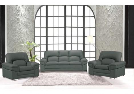 Salon 3 pièces NAIA gris : 1 canapé 3 places + 2 fauteuils 1 place