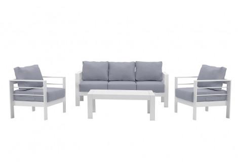 Salon 3 pièces PATIO alu blanc tissu gris clair: 1 canapé 3 place + 2 fauteuils 1 place