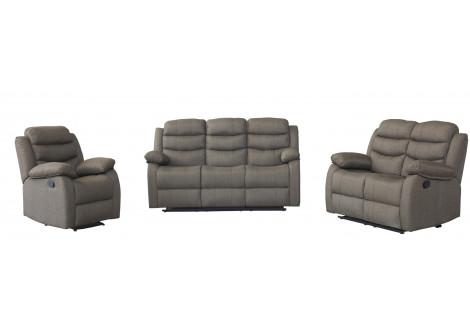 Salon SAM 3+2+1 gris 3 pièces avec système relax