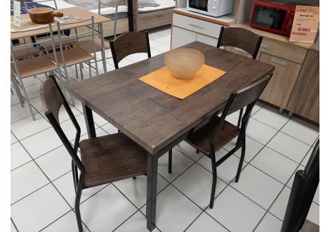 Ensemble Table et 4 chaises SANSA plateaux chêne foncé / pieds noir