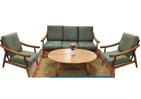 Salon 4 pièces LIBERTY chêne tissu microfibre olive : 1 canapé 3 places + 2 fauteuils + 1 table basse