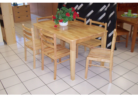 Ensemble ANDA HEVEA Massif Naturel table et 6 chaises