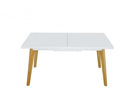Table de salle à manger HELSINKI blanc et pieds bois