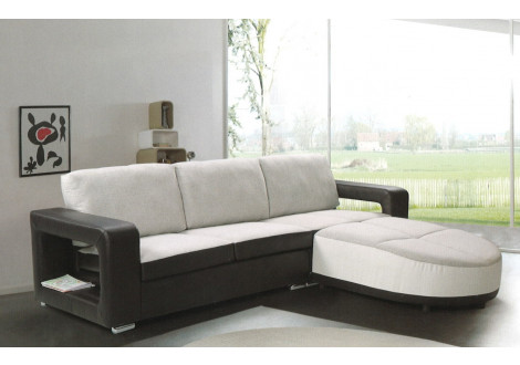 Canapé d'angle TARAWA noir et blanc