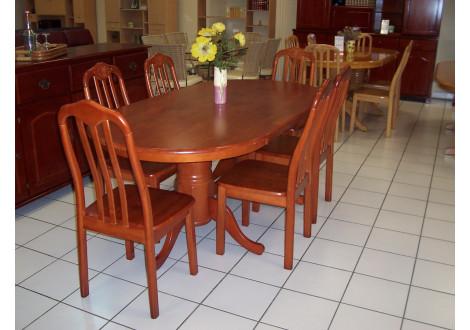 Ensemble table ovale et 6 chaises EMPIRE hévéa massif merisier