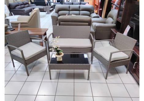 Salon 4 pièces TEMPO gris foncé : 1 canapé 3 places + 2 fauteuils + 1 table basse