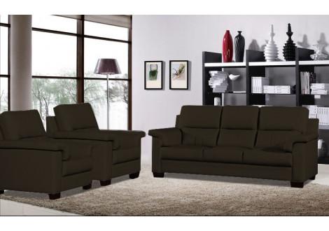 Salon 3 pièces TEXAS chocolat foncé : 1 canapé 3 places + 2 fauteuils 1 place
