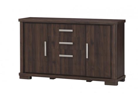 Buffet bas 2 portes 3 tiroirs TURINI acacia noyer relief