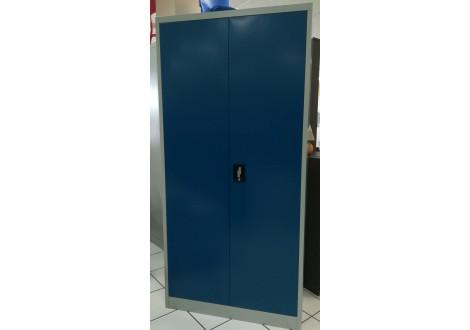 Vest. 2 portes métal LARGEUR 90 cm multi-fonctions gris clair & portes bleu roi VD-2M