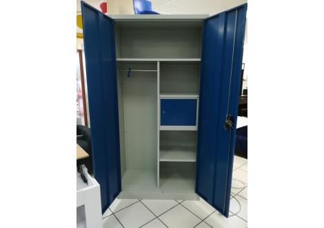Vest. 2 portes métal LARGEUR 90 cm multi-fonctions gris clair & portes azur VD-2M