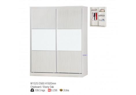 Armoire 2 portes coulissantes WENDY frêne blanchi