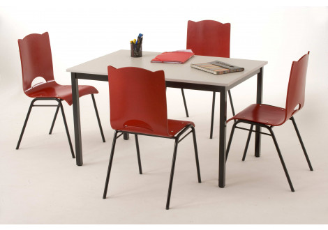 Table COMPO hêtre/epoxy alu 140x70cm