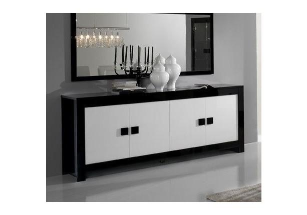 Buffet CHESS 4 portes Blanc/noir laqué - Living, vaisseliers et ...