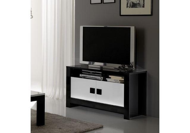 Meuble tv chess blanc laqu living vaisseliers et for Meuble sejour laque blanc