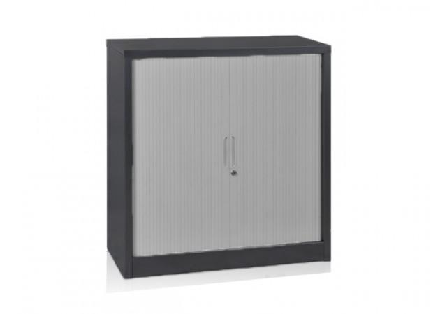 Armoire basse à rideaux métallique coloris anthracite ARR-105 ...