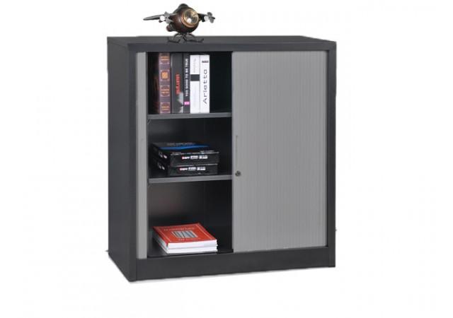 armoire basse rideaux m tallique coloris anthracite arr. Black Bedroom Furniture Sets. Home Design Ideas