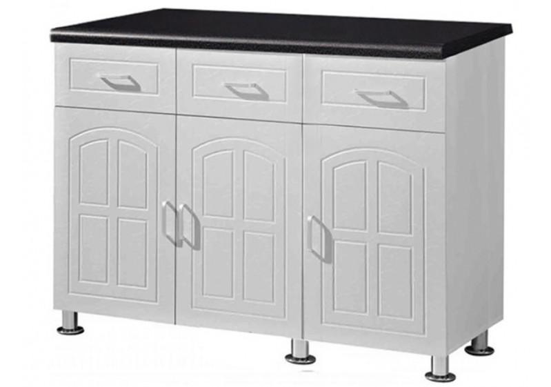 buffet bas de cuisine 3 portes 3 tiroirs oscar 120 blanc noir buffets bas s jour. Black Bedroom Furniture Sets. Home Design Ideas