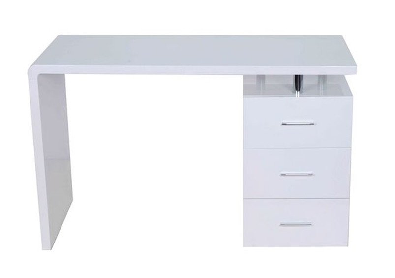 Bureau key 3 tiroirs blanc for Bureau 3 tiroirs biface