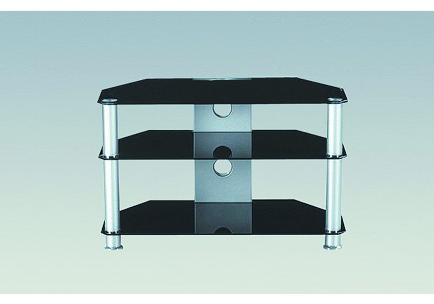 meuble tv open chrome verre noir. Black Bedroom Furniture Sets. Home Design Ideas