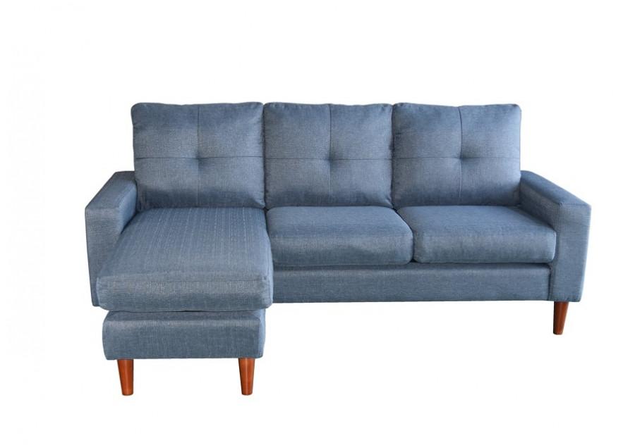 Canapé d\'angle AZUR PU bleu clair - Canapés et fauteuils - Salon