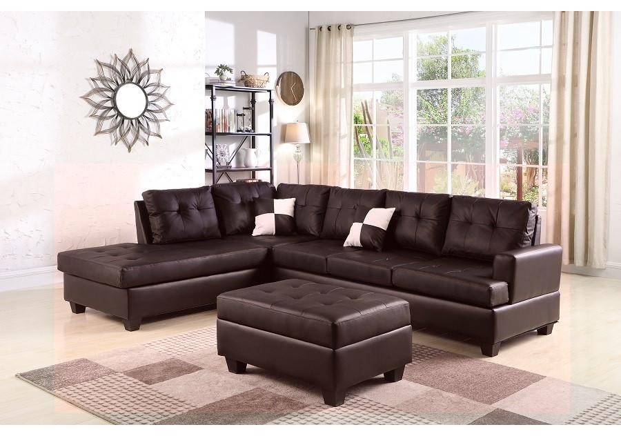 Canapé d\'angle + pouf PANAMERA PU marron - Canapés et fauteuils - Salon