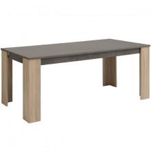 Table de salle à manger extensible FUMAY chêne & béton
