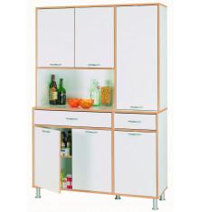Vaisselier LEO 6 portes 2 tiroirs blanc/hêtre