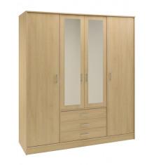 Armoire BALTIC 4 portes 3 tiroirs décor chêne clair