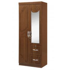 Armoire 2 portes+miroir+2 tiroirs FLAVIA décor marron foncé
