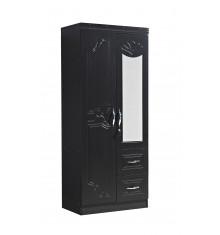 Armoire 2 portes+miroir+2 tiroirs FLAVIA décor noyer foncé