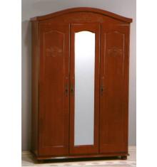 Armoire CLARA hévéa massif 3 portes merisier