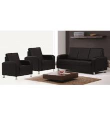 Salon 3 pièces ANNA noir : 1 canapé 3 places + 2 fauteuils 1 place