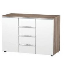 Bahut COCINA 2 portes 4 tiroirs chêne / laqué blanc