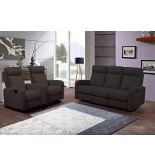 Salon 3 pièces BERGAME tissu marron: 1 canapé 3 places/2 relax + 2 fauteuils 1 place relax