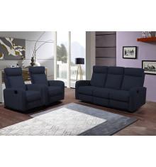 Salon 3 pièces BERGAME tissu bleu: 1 canapé 3 places/2 relax + 2 fauteuils 1 place relax
