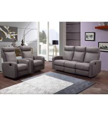Salon 3 pièces BERGAME tissu gris: 1 canapé 3 places/2 relax + 2 fauteuils 1 place relax