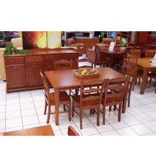 Ensemble 1 table+6 chaises HAVANA massif merisier