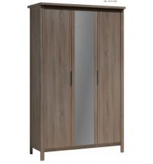 Armoire 3 portes+miroir SAFARI chêne cendré