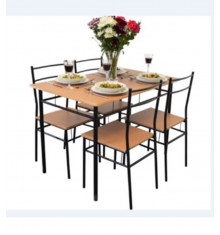 Ensemble 1 table + 4 chaises COVENT hêtre/pieds noirs
