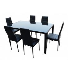 Ensemble 1 table + 6 chaises LUXOR noir