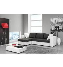 Canapé d'angle réversible convertible FLAMENCO pvc noir/blanc