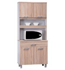 Buffet haut 4 portes/1 tiroir FLIP chêne safari/blanc