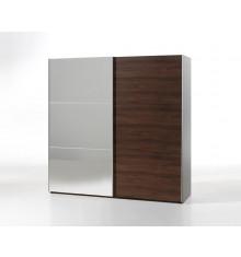 Armoire 2 portes coulissantes L250 + miroir GAEL noyer