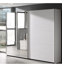 Armoire 2 portes coulissantes + miroir GAEL chêne moonlight