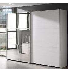 Armoire 2 portes coulissantes L250 + miroir GAEL chêne moonlight