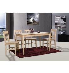 Ensemble 1 table + 4 chaises LAJA pin massif naturel