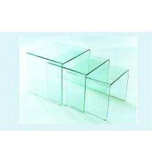 Lot de 3 tables basses gigognes GLASGOW verre clair