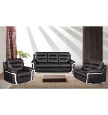 Salon 3 pièces MARIGOLD bicolore noir et blanc : 1 canapé 3 places + 2 fauteuils 1 place