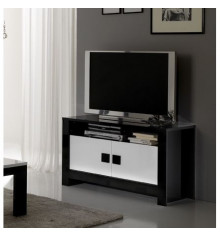 Meuble TV CHESS Blanc/Noir laqué